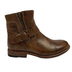 BED STU Becca Dual Zipper Brown Leather Ankle Boot